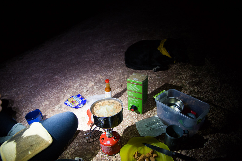 Dinner by headlamp